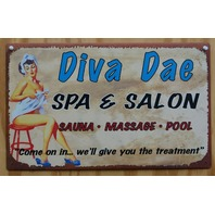 Diva Dae Salon Laundry Bathroom Tin Metal Sign Pin Up Girl Sauna Pool Day Spa Z9