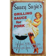 Saucy Suzies Bar B Q Tin Sign Pin Up Girl Cook Out Pork Grill Barbecue  Z79
