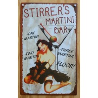 Stirrers Martini Bar Tin Sign Pin Up Girl Home Bar Sign Drink Glass Brunette Z13