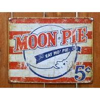 Moon Pie Eat Mo Pie Tin Sign Vintage Styled Advertisement AD American Flag G75