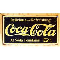 Coca Cola At Soda Fountains Tin Sign Pop Bottle Soda Yellow & Black Classic E96