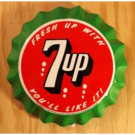 Fresh 7 Up Bottle Cap Tin Metal Sign Soda Pop Drink Kitchen Home Decor Spot 7up