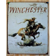 Winchester Cowboy Tin Sign Hand Gun Country Western Horse Barn Rodeo Rifle E115