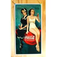 Coca Cola 50th Ann. 1886 1936 Tin Sign Pop Bottle Soda White Bathing Suit B74