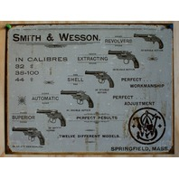 Smith & Wesson Tin Sign Pistol Revolver Gun Rifle Fire Arm Cowboy Western 24