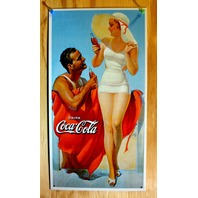 Drink Coca Cola Tin Sign Pop Bottle Soda Beach Classic White Bathing Suit B34