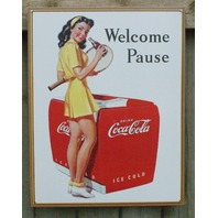 Coca Cola Welcome Pause Tin Sign Garage Coke Tennis Pin Up Girl Soda  B48