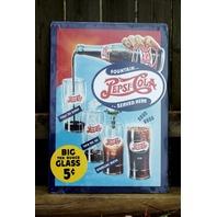 Pepsi Cola Classic Fountain Drink Recipe Aluminum Sign Garage Man Cave Soda 12