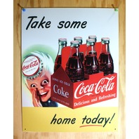 Coca Cola Take One Home Today 6 Pack Tin Sign Soda Bottle Pop Sprite Red  B101