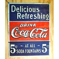 Refreshing Drink Coca Cola Coke Vintage Retro Style 5 Cents Tin Metal Sign Pop