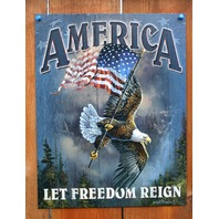 America Let Freedom Ring Tin Sign Bald Eagle American Flag USA Military POW B21