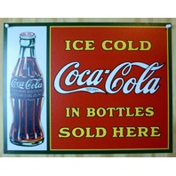 Ice Cold Coca Cola Tin Metal Sign Red & Green Classic Soda Pop Kitchen Decor B27