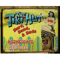 Tiki Hut Tin Sign Surf Sand Suds Tiki Party Hawaii Island Girl Hula Skirt 20