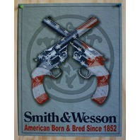 Smith & Wesson Tin Sign Pistol Revolver Hand Gun American USA Flag Country 24