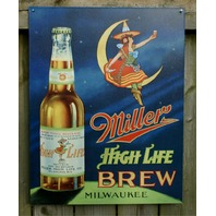 Miller High Life Classic Beer Witch Milwaukee Bar Garage brew tin metal sign D95
