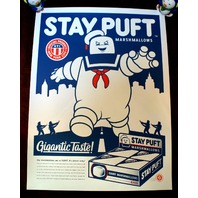 Ghostbusters Stay Puft Movie Poster Print By Clark Orr Signed Slimer glow ink