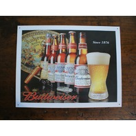 Budweiser History of Bud bottle logo Tin Metal Sign Bar Mancave Garage Beer D93