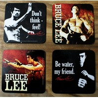Bruce Lee 4 pc Wood Coaster Set Martial Arts MMA Karate The Dragon Rock