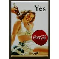 Yes Coca Cola Refrigerator Fridge Magnet Coke Soda Pop Fountain Drink Ad B1