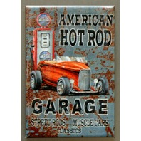 American Hot Rod Garage FRIDGE MAGNET Classics Muscle Cars Pin Up Girl Gas F32