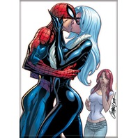 Spiderman Black Cat kiss Mary Jane Fridge magnet 90s Style Marvel Comic book N20