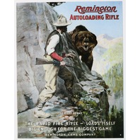 Remington Auto Loading Rifle Tin Sign Ammo Gun Shotgun Outdoors Hunting