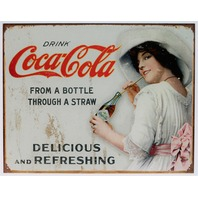 Coca Cola Bottle Through A Straw Tin Sign Soda Bottle White Dress Fountain Coke