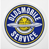 Oldsmobile Service Tin Metal Round Sign Cutlass 442 Super 88 GM Garage Globe Olds