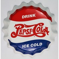 Pepsi Bottle Cap Tin Metal Sign Soda Pop Drink Kitchen Home Decor Cola Red Blue