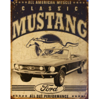 All America Muscle Ford Classic Mustang Tin Sign 302 429 GT500 V8 Shelby D106