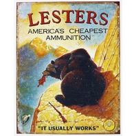 Lesters Americas Cheapest Ammo Tin Sign Ammo Gun Comedy Hunting Humor