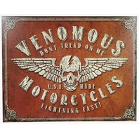 Venomous American Made Motorcycles Tin Sign USA Skull Flag Dont Tread On Me B9