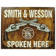 Smith & Wesson Spoken Here Tin Sign .44 .38 Hand Gun Pistol Ammo Revolver