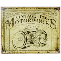 Vintage Iron Motorworks Tin Sign HD Bike Cannonball V Twin CC Advertisment G107