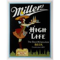 Miller High Life Tin Sign Man Cave Garage Bar Beer Witch Alcohol Milwaukee