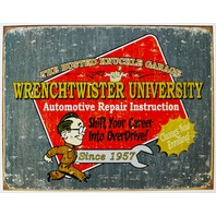 Busted Knuckle Garage Wrench Twister University Tin Sign Garage Mechanic Auto