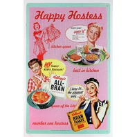 Kelloggs Ad Tin Sign Kitchen Home Decor 50s Happy Hostess Kitchen Classic 25A