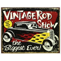 Vintage Rod Show Tin Sign Man Cave Mechanic Pontiac Ford Chevy Dodge Auto 22A