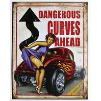 Dangerous Curves Ahead Tin Sign Garage Man Cave pin up  American Roadster