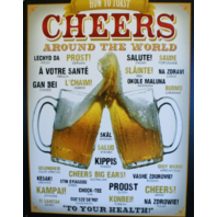 How to toast Cheers Around The World Tin Metal Sign Beer Alcohol Bar Spanish G31