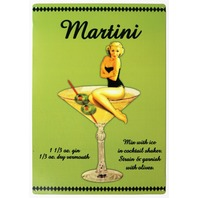 Martini  Mix Drink Tin Metal Sign Bar Garage Pin Up Girl Man Cave Alcohol