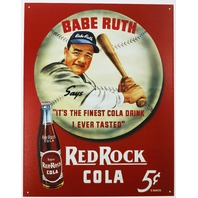 Babe Ruth Red Rock Cola Tin Sign New York Yankees Baseball Soda Pop MLB Cola