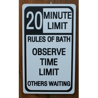 20 Minute Limit Bath Time Tin Metal Sign Bathroom Decor Humor Teen Shower C5