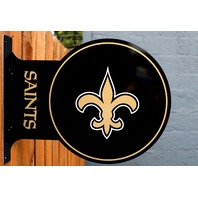 Double Sided New Orleans Saints Flange Tin Metal Sign NFL Football Team Sports