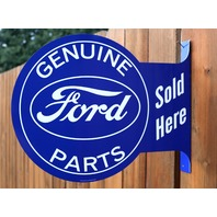 double sided genuine ford parts sold here flange metal sign f150 truck mustang
