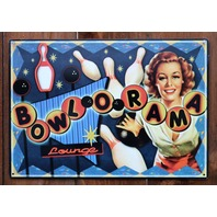 Bowlorama Lounge Tin Metal Sign Bowling Vintage Style 50s pin up Classic G11