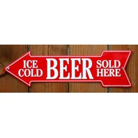 Ice Cold Beer Sold Here Metal Arrow Tin Sign Beer Cave Store Garage Alcohol G7