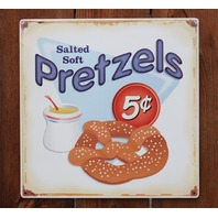 Salted Soft Pretzels Tin Sign Kitchen Restaurant Home Movie Theater D64