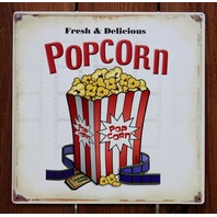 Fresh & Delicious Popcorn Tin Sign Home Movie Theater Kitchen Media Room D67