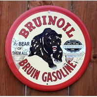 Bruinoil Tin Round Sign Bruin gasoline Oil Gas Vintage Style Pennsylvania G18